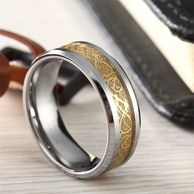 gold celtic tungsten wedding bands