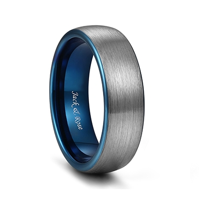 silver and blue tungsten rings